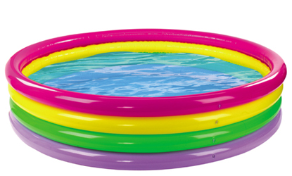 Rainbow Coloured 4 Ring Paddling Pool