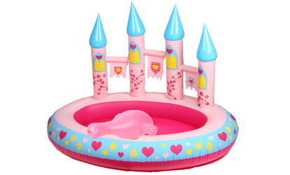Pink Princess Castle Paddling Pool with Hose Spray Canon