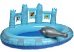 Blue Prince Castle Paddling Pool with Hose Spray Canon