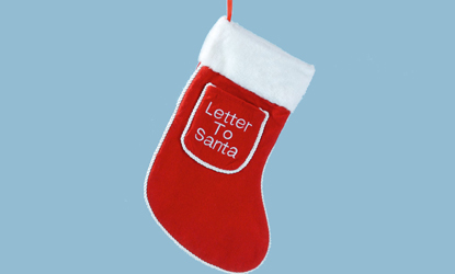 Red Fabric Christmas Stocking with Letter Pocket