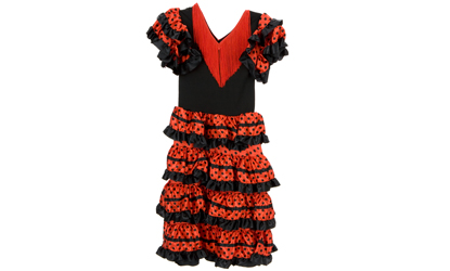 Girls Flamenco Spanish Dancer Dress Up Costume