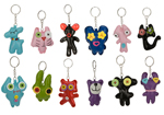 Novelty Patch Funny Face Keyrings 12pcs