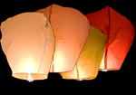 12 Coloured Paper Sky Lanterns