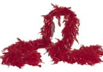 Red Feather Boa with Silver Tinsel