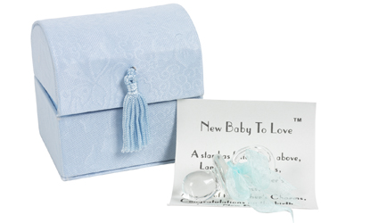 New Baby Gift - Glass Dummy with Blue Ribbon in Satin Box