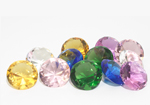 Set of 12 Coloured Glass Diamonds