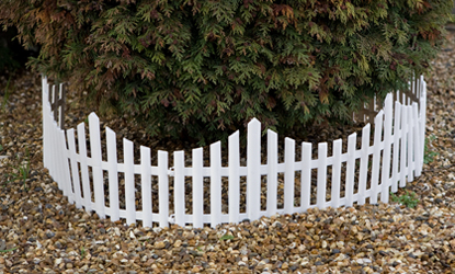 24pc White Picket Fence Garden Lawn Edging for soft ground
