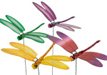 Garden Decorations 4pc Set Dragonfly Ornaments with Moving Wings