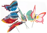 Garden Decorations 4pc Set Butterfly Decoration with Moving Wings