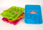 Green 5 Partition Plastic Cutlery Tray