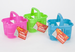Pink Plastic Cutlery Basket with Carry Handle