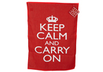 Keep Calm and Carry On Red Tea Towel