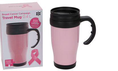 Breast Cancer Campaign 400ml Pink Travel Mug
