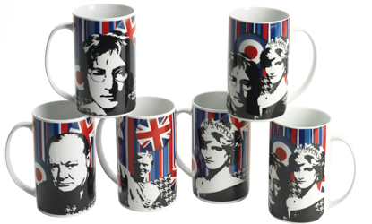 Cool Britannia Legends Set of 6 Stripey Mod Mugs