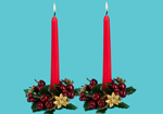 Christmas Table Candles with Festive Candle Rings