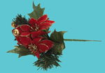 190mm Red Poinsettia Pick - Festive Christmas Decoration