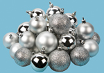24 Silver Mixed Size Matt and Shinny Baubles