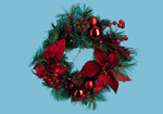 30cm Decorated Christmas Wreath with Poinsetta and Cones