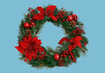 51cm Large Decorated Christmas Wreath with Poinsettia and Cones