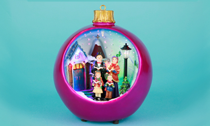 Christmas Carol Singers Ornaments.Fibre Optic Christmas Ornament Fushia Bauble Carol Singers