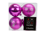 Mixed Matt and Shiny Hot Pink Tree Baubles 60mm 4pc