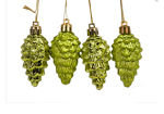 Mixed Matt and Shiny Lime Green Cone Tree Trims 4pc