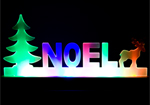 Frosted Light Up Noel Christmas Window Ornament